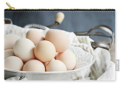 Apron And Eggs On Wooden Table Carry-all Pouch