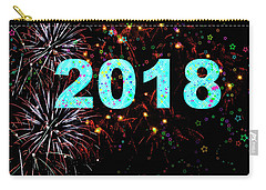 Aqua 2018 Fireworks Happy New Year Carry-all Pouch