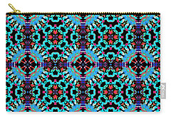 Aqua Geometric Mandala Carry-all Pouch