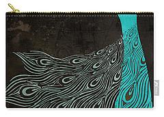 Aqua Peacock Art Nouveau Carry-all Pouch