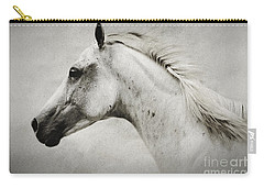 Arabian White Horse Portrait Carry-all Pouch