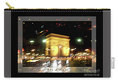 Arc De Triomphe By Bus Tour Greeting Card Poster V1 Carry-all Pouch by Felipe Adan Lerma