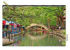 Carry-all Pouch featuring the photograph Arched Bridge Reflection - San Antonio by Art Block Collections