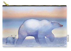 Arctic Bears, Journeys Bright Carry-all Pouch by Tracy Herrmann