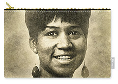 Carry-all Pouch featuring the digital art Aretha Franklin Queen Of Soul by Anthony Murphy