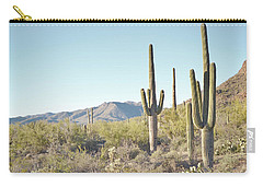 Arizona Cactus Blue Sky Landscape Carry-all Pouch by Andrea Hazel Ihlefeld