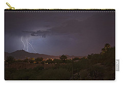 Carry-all Pouch featuring the photograph Arizona Monsoon Lightning by Dan McManus