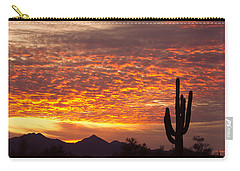 Arizona November Sunrise With Saguaro   Carry-all Pouch by James BO  Insogna