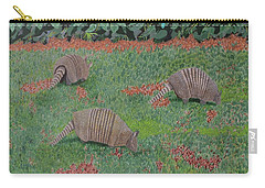 Carry-all Pouch featuring the painting Armadillos In The Yard by Hilda and Jose Garrancho