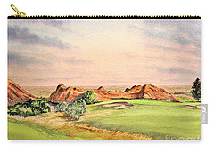 Carry-all Pouch featuring the painting Arrowhead Golf Course Colorado Hole 3 by Bill Holkham