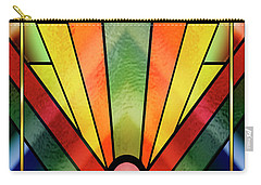 Carry-all Pouch featuring the digital art Art Deco Chevron 2 V by Chuck Staley