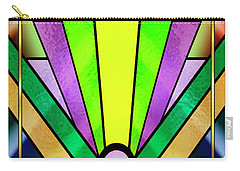 Carry-all Pouch featuring the digital art Art Deco Chevron 3 V by Chuck Staley