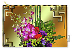 Carry-all Pouch featuring the digital art Art Deco Floral Arrangement by Chuck Staley