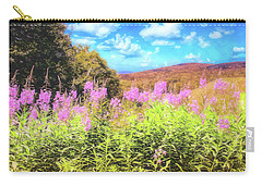 Art Photo Of Vermont Rolling Hills With Pink Flowers In The Foreground Carry-all Pouch