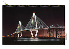 Carry-all Pouch featuring the photograph Arthur Ravenel Jr. Bridge At Midnight by George Randy Bass