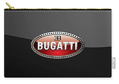 Bugatti - 3d Badge On Black Carry-all Pouch by Serge Averbukh
