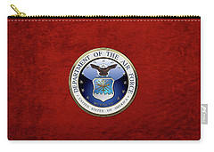 U. S.  Air Force  -  U S A F Emblem Over Red Velvet Carry-all Pouch