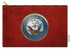 U. S.  Navy  -  U S N Emblem Over Red Velvet Carry-all Pouch