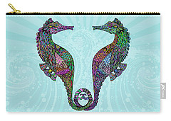 Carry-all Pouch featuring the drawing Electric Seahorses by Tammy Wetzel