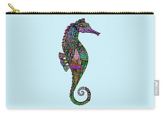 Carry-all Pouch featuring the drawing Electric Lady Seahorse  by Tammy Wetzel