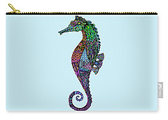 Carry-all Pouch featuring the drawing Electric Gentleman Seahorse by Tammy Wetzel