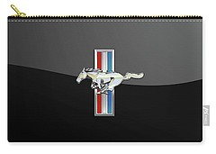 Ford Mustang - Tri Bar And Pony 3 D Badge On Black Carry-all Pouch