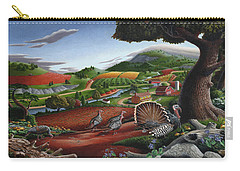 Wild Turkeys Appalachian Thanksgiving Landscape - Childhood Memories - Country Life - Americana Carry-all Pouch by Walt Curlee