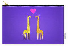 Cute Cartoon Giraffe Couple In Love Purple Edition Carry-all Pouch by Philipp Rietz