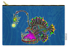 Carry-all Pouch featuring the drawing Electric Angler Fish by Tammy Wetzel