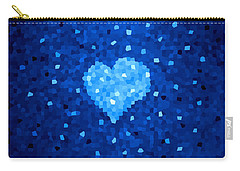 Winter Blue Crystal Heart Carry-all Pouch