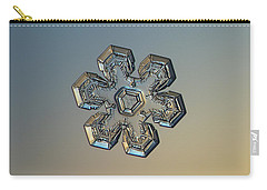 Carry-all Pouch featuring the photograph Snowflake Photo - Massive Gold by Alexey Kljatov