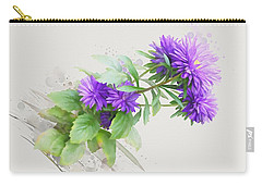 Carry-all Pouch featuring the painting Purple Aster by Ivana