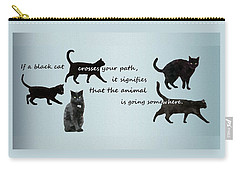 Carry-all Pouch featuring the digital art Black Cat Crossing by Ivana Westin