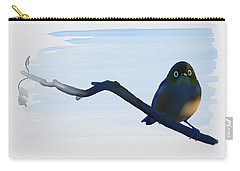 Carry-all Pouch featuring the painting Eye To Eye With Silvereye by Ivana Westin