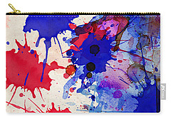 Blue And Red Color Splash Carry-all Pouch