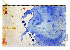 Blue And Orange Color Splash Carry-all Pouch