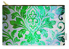 Green Damask Pattern Carry-all Pouch