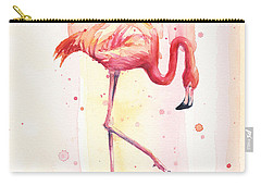 Pink Flamingo Watercolor Rain Carry-all Pouch by Olga Shvartsur