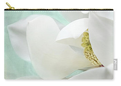 Magnolia Blossom, Soft Dreamy Romantic White Aqua Floral Carry-all Pouch