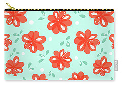 Cheerful Red Flowers Carry-all Pouch