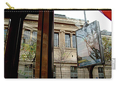 Carry-all Pouch featuring the photograph Paris Cafe Views Reflections by Felipe Adan Lerma