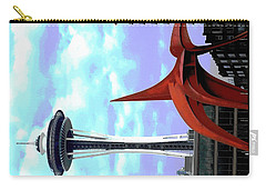 Carry-all Pouch featuring the photograph Eagle And Space Needle Seattle by Yulia Kazansky