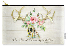 Boho Love - Deer Antlers Floral Inspirational Carry-all Pouch