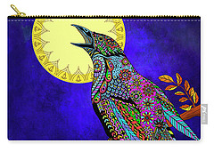 Carry-all Pouch featuring the drawing Electric Crow by Tammy Wetzel
