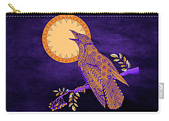Carry-all Pouch featuring the drawing Halloween Crow And Moon by Tammy Wetzel