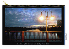 Boat, Lights, Sunset On Lady Bird Lake Carry-all Pouch by Felipe Adan Lerma