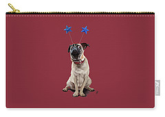 Carry-all Pouch featuring the drawing A Pug's Life Colour by Rob Snow