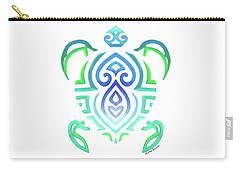 Tribal Turtle White Background Carry-all Pouch