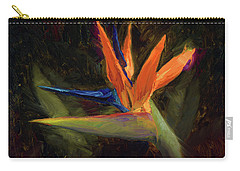 Carry-all Pouch featuring the painting Extravagance - Tropical Bird Of Paradise Flower by Karen Whitworth