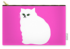 Cartoon Plump White Cat On Pink Carry-all Pouch by Marian Cates